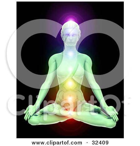 Clipart Illustration of a Jade Woman Meditating In The Lotus Pose With Her Chakras Illuminated In Different Colors, Over A Black Background by Tonis Pan
