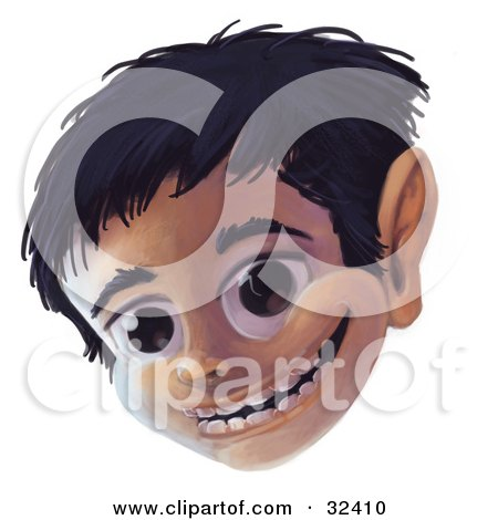 Clipart Illustration of a Happy Big Eyed Boy Smiling by Tonis Pan