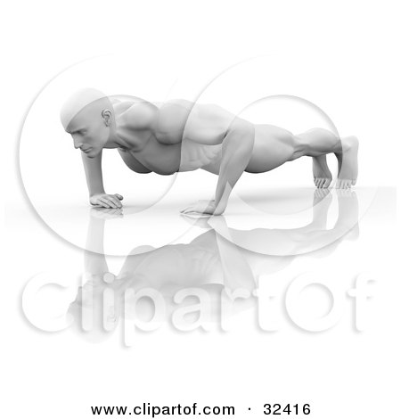 Clipart Illustration of a Muscular Man Doing Push Ups On A Reflective Surface by Tonis Pan