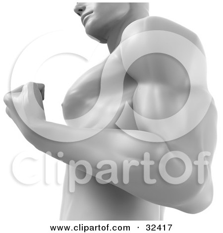 Clipart Illustration of a Strong Male Body Builder Flexing His Arm Muscles by Tonis Pan
