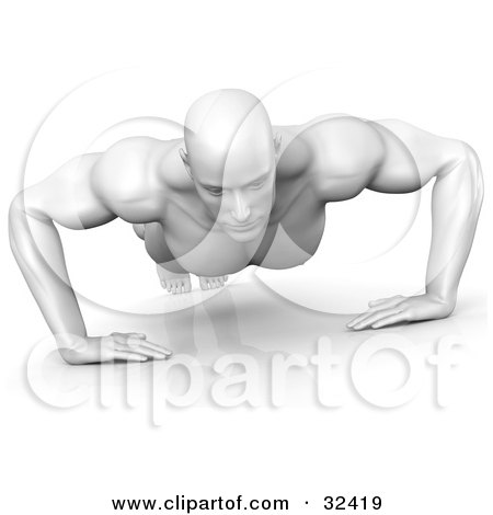 Clipart Illustration of a Strong And Muscular White Man Doing Push Ups by Tonis Pan
