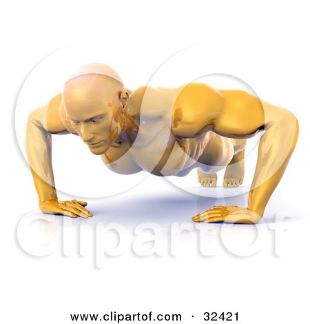 Clipart Illustration of a Strong And Muscular Golden Man Doing Push Ups by Tonis Pan
