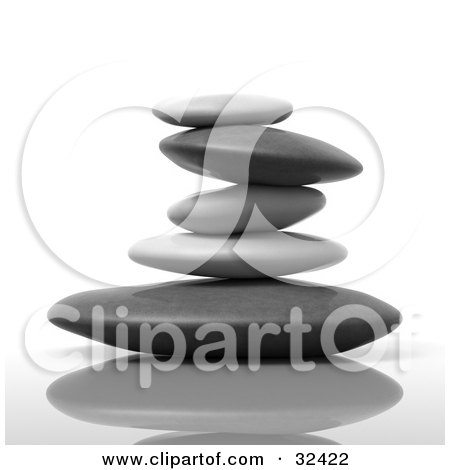Clipart Illustration of a Stack Of Flat Gray And Black Stones On A Reflective Surface by Tonis Pan