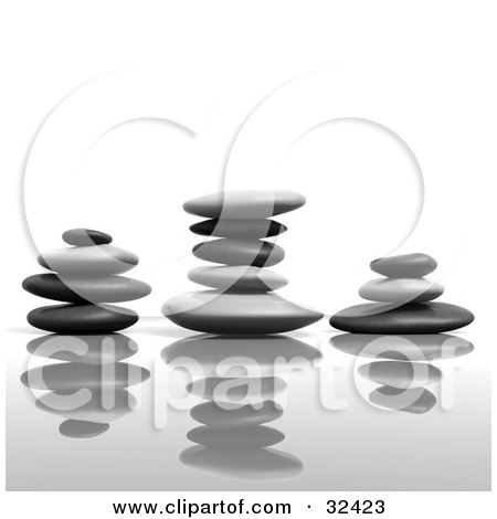 Clipart Illustration of Three Balanced Stacks Of Flat Stones With Reflections by Tonis Pan