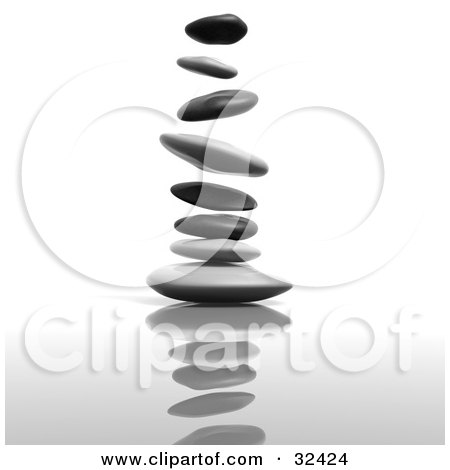 Clipart Illustration of a Flat Stacking Stones Falling And Landing On Top Of One Another by Tonis Pan