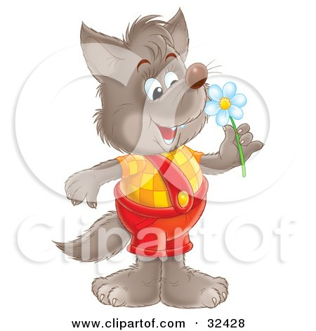 Clipart Illustration of a Happy Wolf In Shortalls, Holding A Spring Daisy Flower by Alex Bannykh