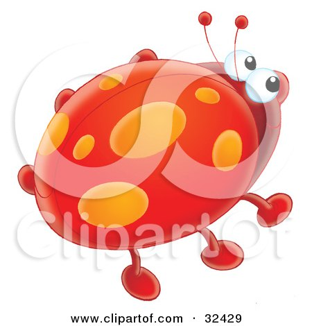 Clipart Illustration of a Cute Red Ladybug With Orange Spot Marks On Its Wings by Alex Bannykh