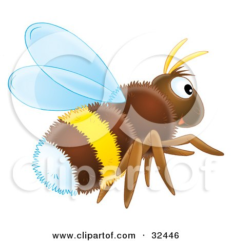Clipart Illustration of a Hairy Brown, White And Yellow Bumble Bee Flying by Alex Bannykh