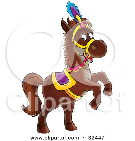 Clipart Illustration of a Dark Brown Horse In A Colorful Saddle, Hat And Reins, Standing Up On Its Hind Legs by Alex Bannykh