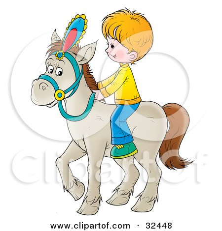 Clipart Illustration of a Little Blond Boy Riding A White Horse by Alex Bannykh