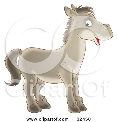 Clipart Illustration of a Happy Gray Horse Facing To The Right And Glancing At The Viewer by Alex Bannykh
