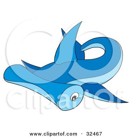 Clipart Illustration of a Swimming Blue Hammerhead Shark by Alex Bannykh