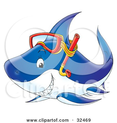 Clipart Illustration of a Grinning Blue Shark Wearing Snorkel Gear On Its Head by Alex Bannykh
