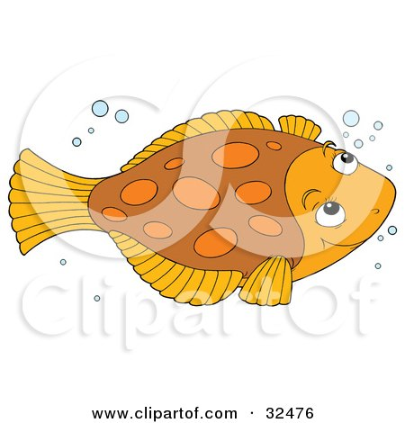 Clipart Illustration of a Cute Brown And Orange Flounder Fish Swimming With Bubbles by Alex Bannykh