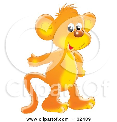 Friendly Orange Monkey Smiling At The Viewer And Gesturing With One Hand Posters, Art Prints