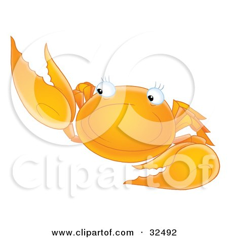 Clipart Illustration of a Friendly Orange Crab Holding Up One Arm by Alex Bannykh