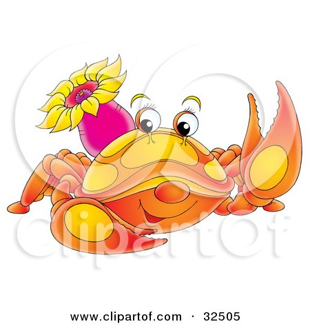 Clipart Illustration of a Cute Orange Crab With A Purple Sea Anemone On Its Back by Alex Bannykh