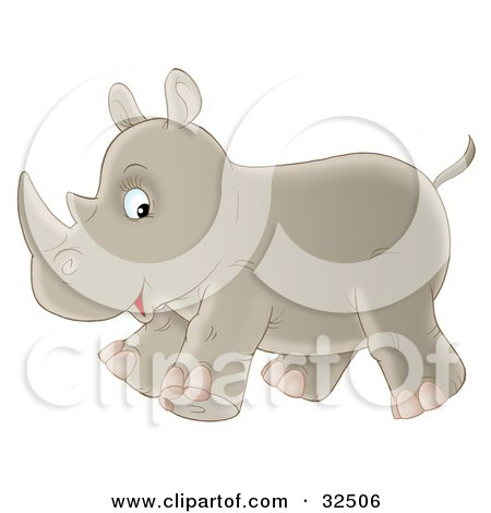 Cute Baby Rhino Glancing At The Viewer While Running Past Posters, Art Prints