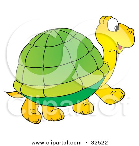Clipart Illustration of a Cute Yellow Tortoise With A Green Shell, Walking To The Right by Alex Bannykh