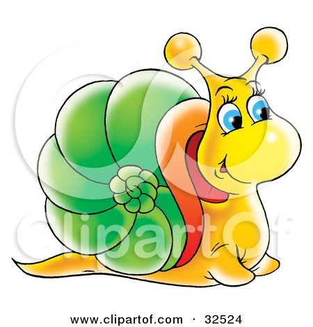 Clipart Illustration of a Friendly Blue Eyed Yellow Snail With A Green And Orange Shell by Alex Bannykh