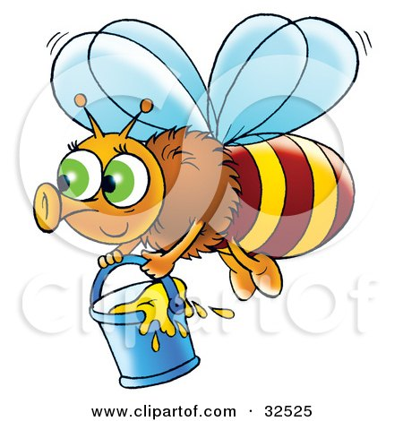 Clipart Illustration of a Cute Green Eyed Bee Flying With A Bucket Of Honey by Alex Bannykh