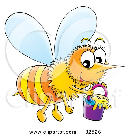 Clipart Illustration of a Happy Honeybee Carrying A Pail Of Honey by Alex Bannykh