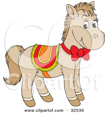 Clipart Illustration of a Cute Beige Pony Wearing A Red, Yellow And Orange Saddle And Bow by Alex Bannykh