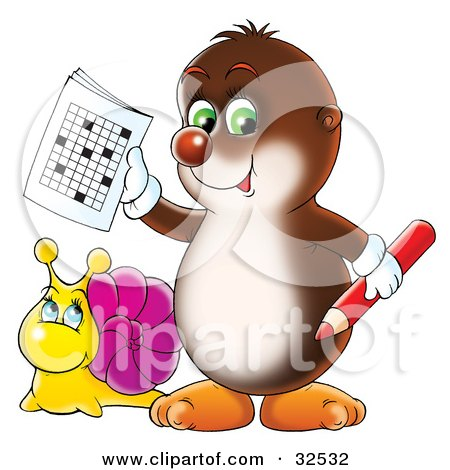 Clipart Illustration of a Snail Looking Up At A Cute Green Eyed Gopher Holding A Word Puzzle by Alex Bannykh