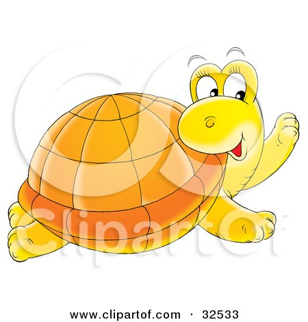 Clipart Illustration of a Friendly Yellow Turtle With An Orange Shell, Turning Its Head And Glancing To The Right by Alex Bannykh