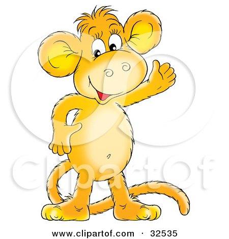 Happy Orange Monkey Smiling And Waving Posters, Art Prints