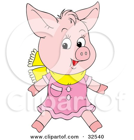 Clipart Illustration of a Cute Pink Pig Wearing A Pink Dress And Yellow Scarf by Alex Bannykh