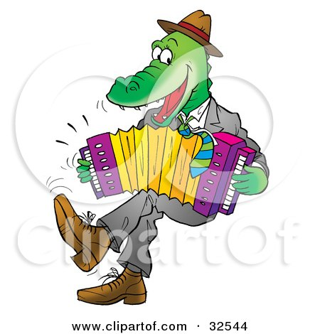 Clipart Illustration of an Energetic Alligator Wearing Clothes, Dancing And Playing An Accordion by Alex Bannykh