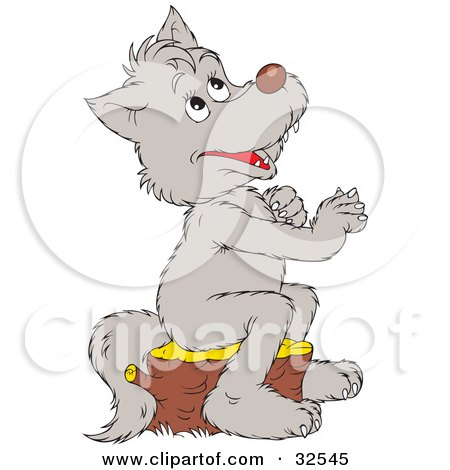 Clipart Illustration of a Cute Gray Wolf Praying, Sitting On A Tree Stump And Looking Up by Alex Bannykh