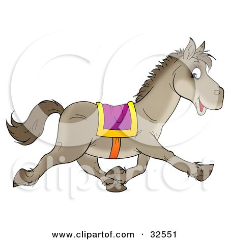 Clipart Illustration of a Happy Gray Saddled Horse Glancing At The Viewer While Running Past by Alex Bannykh