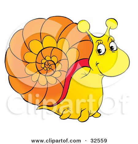 Clipart Illustration of a Friendly Yellow Snail With An Orange Shell by Alex Bannykh