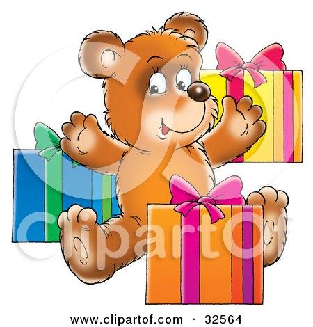 Clipart Illustration of a Happy Teddy Bear Opening Birthday Presents by Alex Bannykh