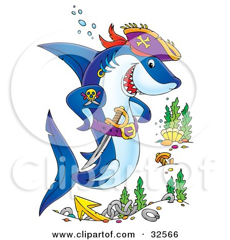 Pirate Shark With A Tattoo And Sword, Swimming Over A Site Of A Sunken Ship