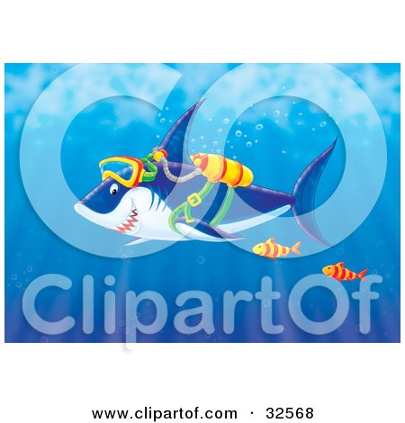 Clipart Illustration of Two Fish Swimming With A Shark Wearing Scuba Gear In The Sea by Alex Bannykh
