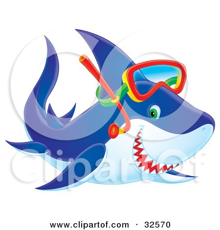 Clipart Illustration of a Blue, Green Eyed Shark Smiling And Wearing Snorkel Gear by Alex Bannykh