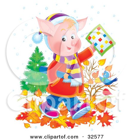 Clipart Illustration of a Pink Pig School Boy In Clothes, Walking Through Autumn Leaves And Holding A Word Puzzle Over A Blue Bird by Alex Bannykh