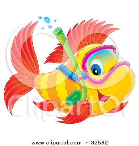 Clipart Illustration of a Blue Eyed Yellow And Red Fish Snorkeling by Alex Bannykh