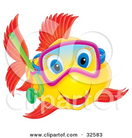 Clipart Illustration of a Happy Yellow Fish With Red Fish And Blue Eyes, Snorkeling by Alex Bannykh