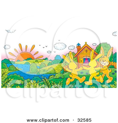 Clipart Illustration of Three Happy Yellow Rabbits Holding Hands And Dancing On A Sunny Spring Day Near A Home On The Riverfront by Alex Bannykh