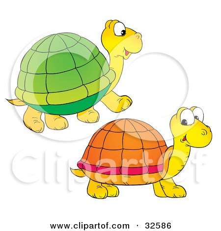 Clipart Illustration of Two Yellow Turtles With Green And Orange Shells by Alex Bannykh
