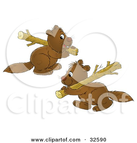 Clipart Illustration of a Two Cute Brown Beavers Carrying Wood Logs by Alex Bannykh