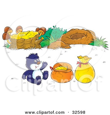 Clipart Illustration of a Gopher Sitting With Food By A Log With Mushrooms And A Hole, Waving by Alex Bannykh