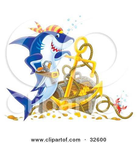 Clipart Illustration of a Proud Pirate Shark Leaning On An Anchor By Sunken Treasure by Alex Bannykh