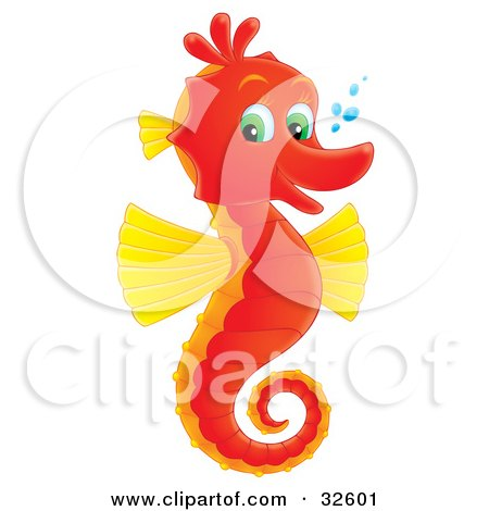 Clipart Illustration of a Cute Red And Yellow Seahorse With Green Eyes, Facing Right And Smiling At The Viewer, With Bubbles by Alex Bannykh