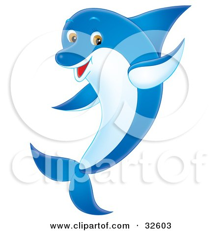 Clipart Illustration of a Friendly Blue Dolphin With A White Belly And Brown Eyes, Waving With One Fin by Alex Bannykh