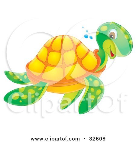 Clipart Illustration of a Smiling Green And Orange Sea Turtle Swimming Past by Alex Bannykh